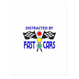 DISTRACTED BY FAST CARS POST CARDS