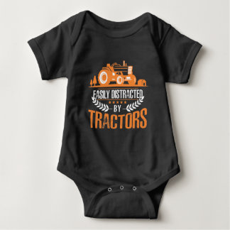 Distracted by Tractor Farmer Funny Farming Baby Bodysuit