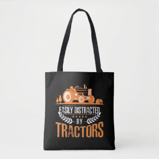 Distracted by Tractor Farmer Funny Farming Tote Bag