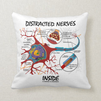 Distracted Nerves Inside (Neuron Synapse Humor) Throw Pillow