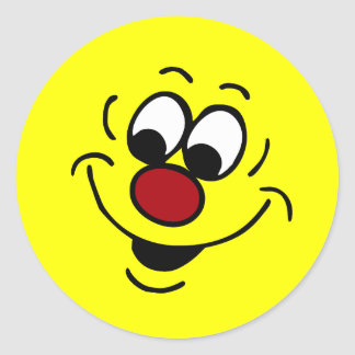 Distracted Smiley Face Grumpey Classic Round Sticker