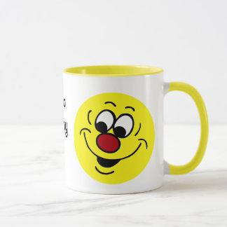 Distracted Smiley Face Grumpey Mug