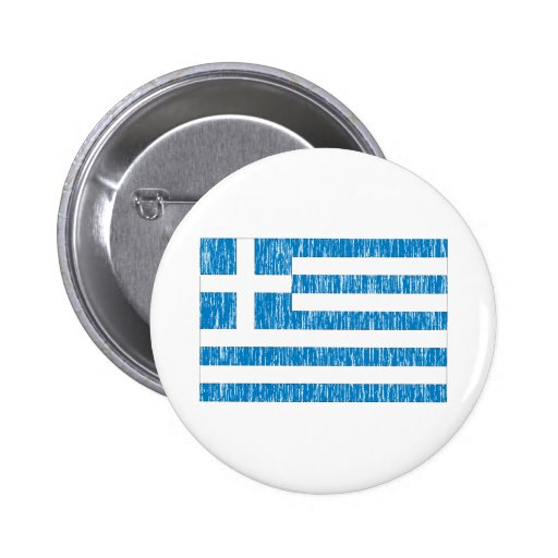 Distreesed Greek Flag Pinback Buttons