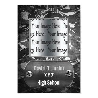 distress gray camo Graduation photo Invitation