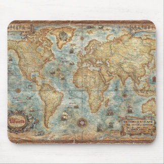 Distress Vintage antique drawn world map Mouse Pad