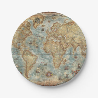 Distress Vintage antique drawn world map Paper Plate