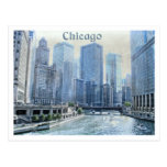 Distressed Aged Downtown Chicago Postcard