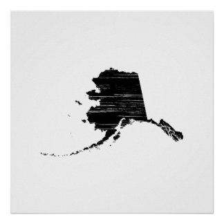 Distressed Alaska State Outline Posters