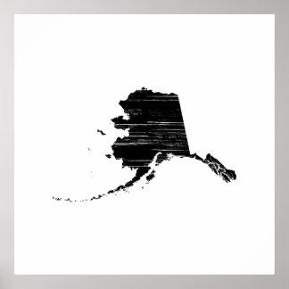 Distressed Alaska State Outline Poster