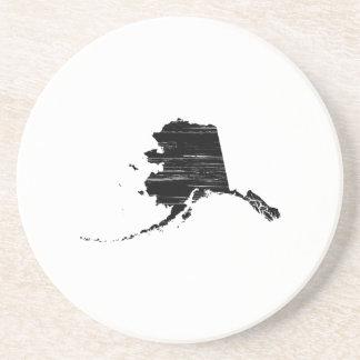 Distressed Alaska State Outline Sandstone Coaster