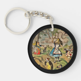 Distressed Alice and Friends Book Cover Double-Sided Round Acrylic Keychain