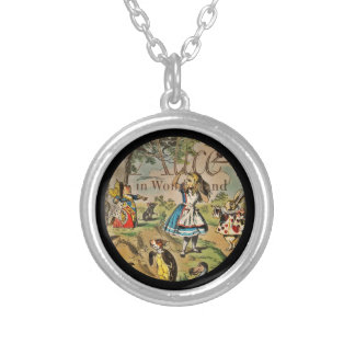 Distressed Alice and Friends Book Cover Silver Plated Necklace