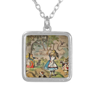 Distressed Alice and Friends Cover Silver Plated Necklace