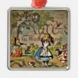 Distressed Alice and Friends Cover Square Metal Christmas Ornament