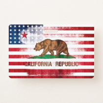 Distressed American Californian Flag Badge