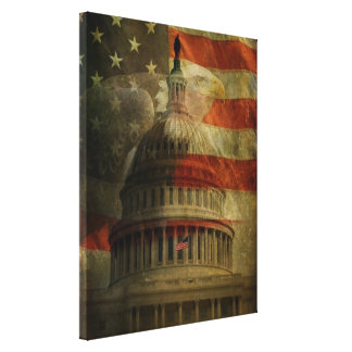 Distressed American Capitol, Eagle and Flag Canvas Print