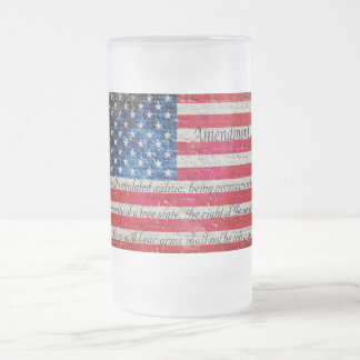 Distressed American Flag & 2nd Amendment On bricks Frosted Glass Beer Mug
