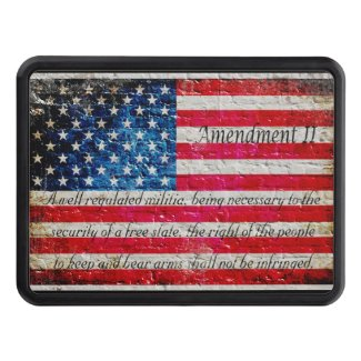 Distressed American Flag & 2nd Amendment On Bricks Trailer Hitch Cover