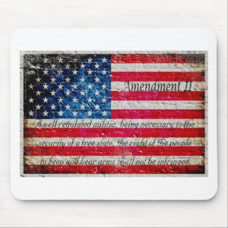 Distressed American Flag And Second Amendment Mouse Pad