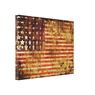 Distressed American Flag Canvas Wrap Canvas Print