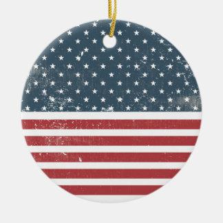 distressed american flag ceramic ornament