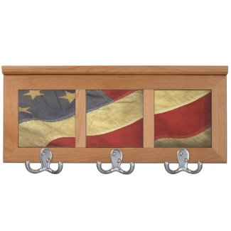Distressed American Flag Coat Racks