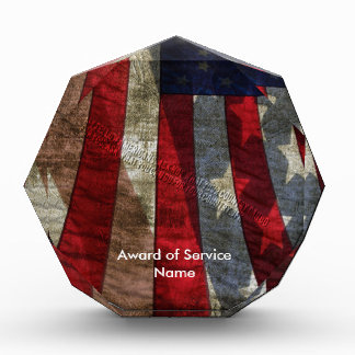 Distressed American Flag Design with JFK Quote Acrylic Award