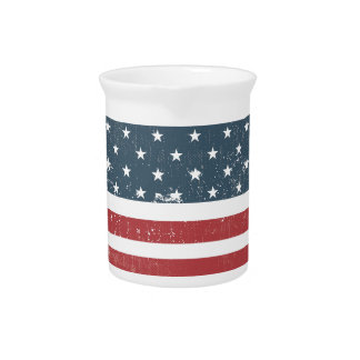 distressed american flag drink pitcher