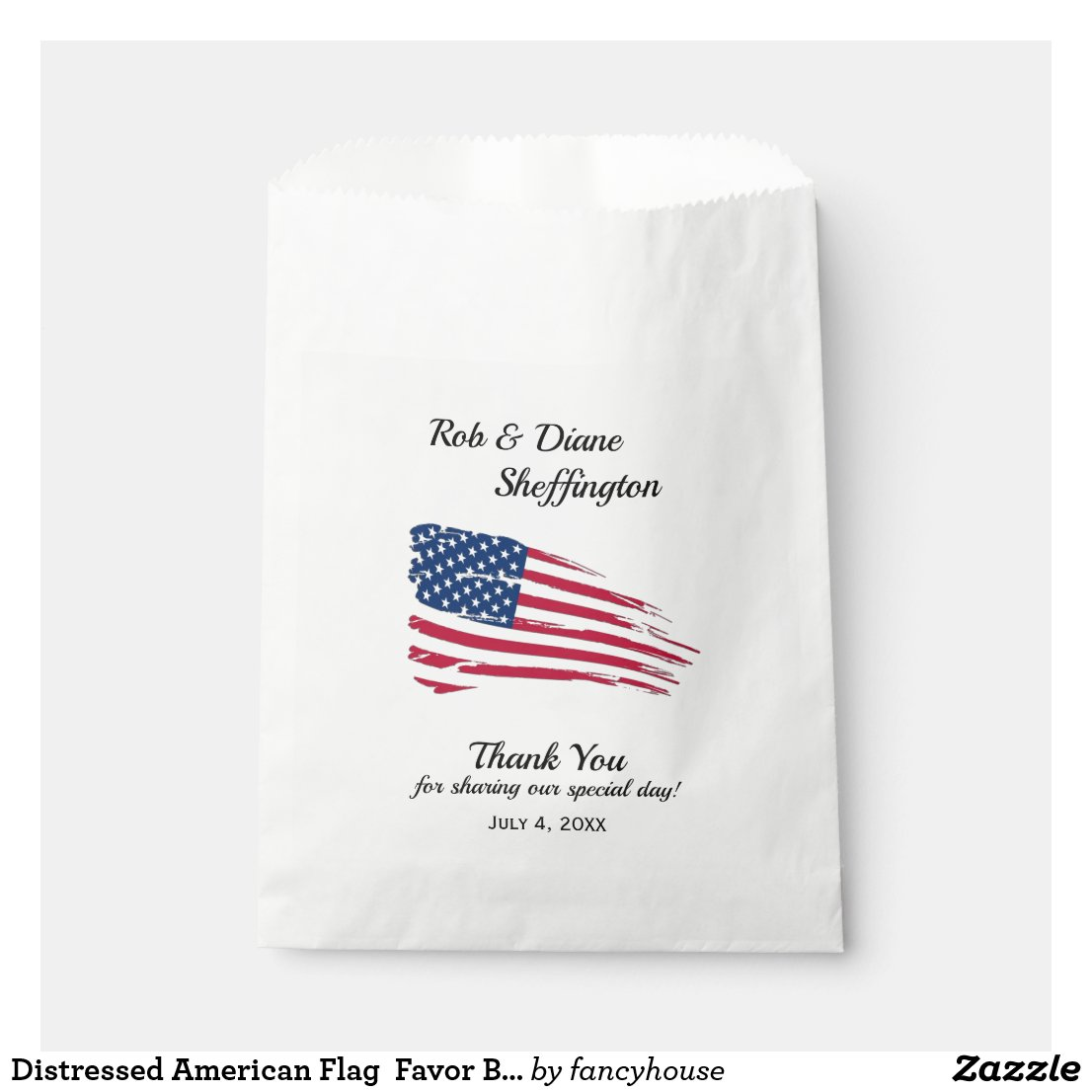 Distressed American Flag Favor Bag