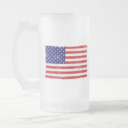 Distressed American Flag Glass Mug
