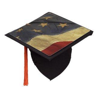 Distressed American Flag Graduation Cap Topper