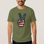 Distressed American flag Hand Peace Sign T Shirt