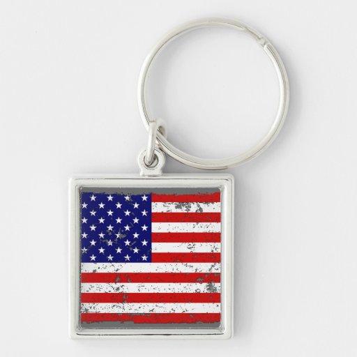 Distressed American Flag Key Chain