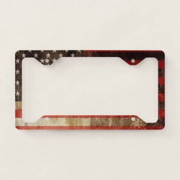 USA Themed Distressed American Flag | License Plate Frame