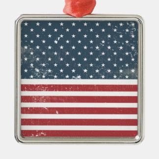 distressed american flag metal ornament