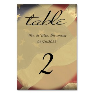 Distressed American Flag Name and Date Table Card