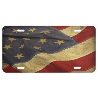 Distressed American Flag Patriotic License Plate