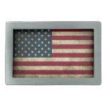 Distressed American Flag Rectangular Belt Buckle