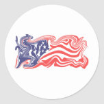 Distressed American Flag Round Stickers