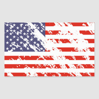Distressed American flag stickers | USA rectangle