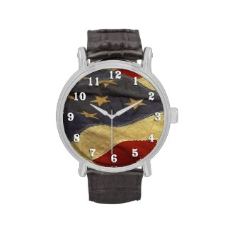 Distressed American Flag Wrist Watch