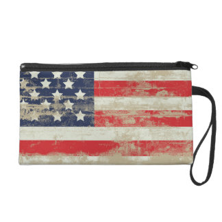 Distressed American Flag Wristlet