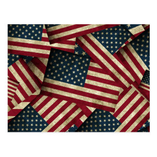 Distressed American Flags Postcard