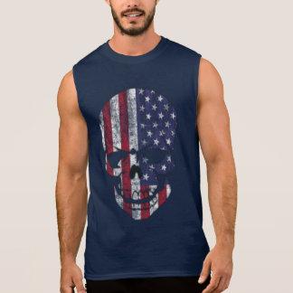 Distressed American Skull Sleeveless Shirt