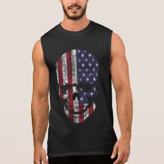 Distressed American Skull Sleeveless Shirts