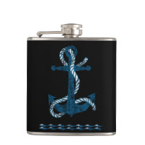Distressed Anchor Blue Flask