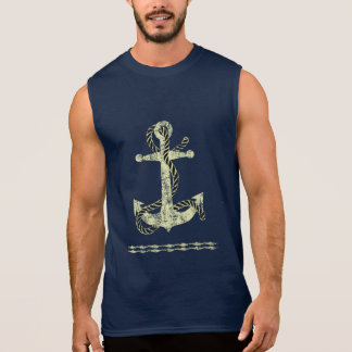 Distressed Anchor Yellow Sleeveless Shirt