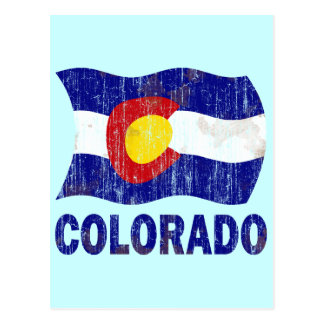 DISTRESSED AND AGED COLORADO FLAG POSTCARD