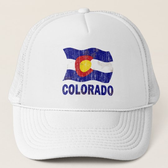 DISTRESSED AND AGED COLORADO FLAG TRUCKER HAT
