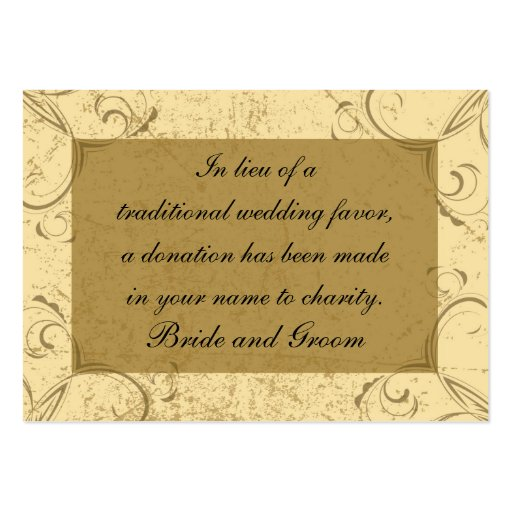 Distressed And Elegant Wedding Charity Favor Card Large Business Cards Pack Of 100
